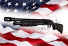 Shotgun Police Pump Action Made in USA on American Flag