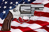 Gun control rights weapon USA American flag concept