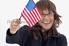 Woman waving an American Flag