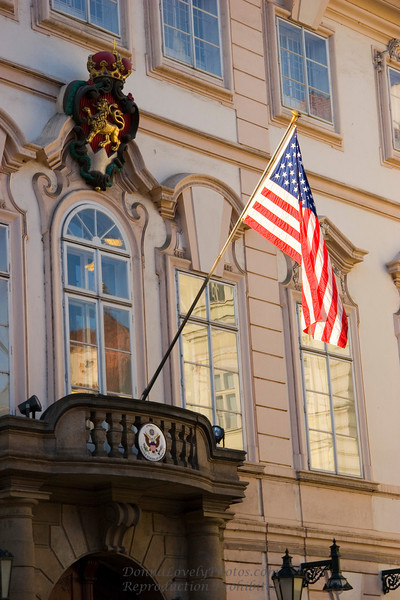 """American Embassy, Prague,"" color photo"