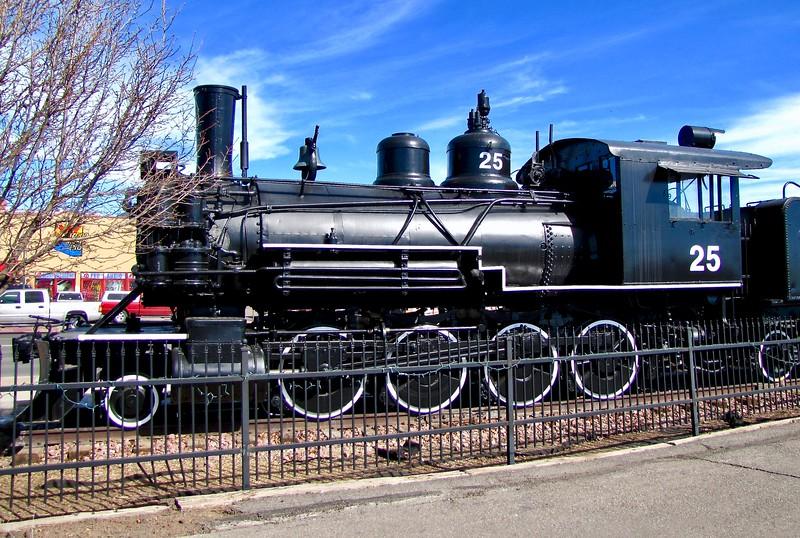 Historic steam locomotive at Flagstaff train station (2011)