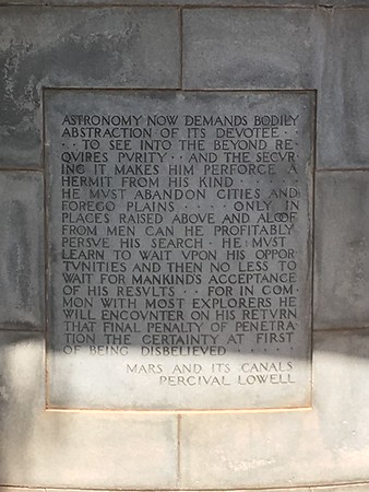 Inscription on Percival Lowell's tomb (2017)