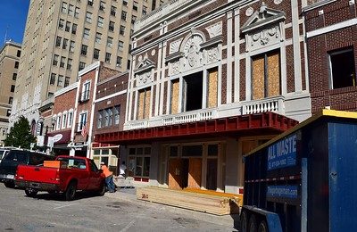 Construction workers outside the Flagstar Strand Theatre for the Performing Arts on Wednesday, Oct. 19, 2016.