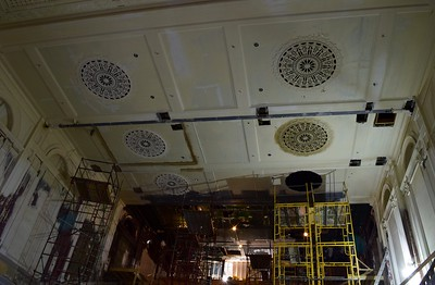 Ceiling decorations under rehabilitation inside the Flagstar Strand Theatre for the Performing Arts on Wednesday, Oct. 19, 2016.