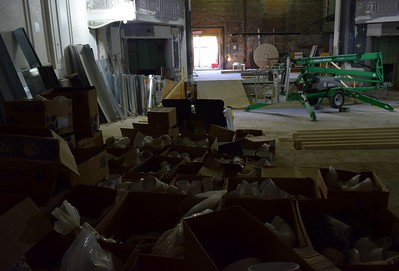 Piping and construction materials inside the Flagstar Strand Theatre for the Performing Arts on Wednesday, Oct. 19, 2016.