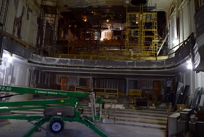 Construction underway inside the Flagstar Strand Theatre for the Performing Arts on Wednesday, Oct. 19, 2016.