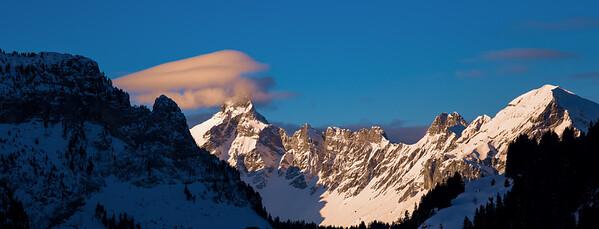Panorama of winter snowy Alps