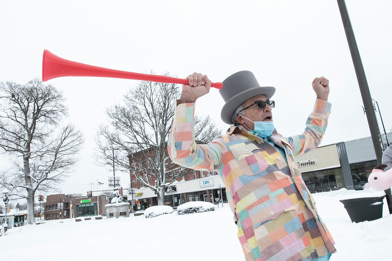 Leominster Mayor Dean Mazzarella was the master of ceremonies at the annual Flamingo Day in the City on February 2, 2021. He had a plastic horn called the vuvuzela that he used during the ceremony. SENTINEL & ENTERPRISE/JOHN LOVE