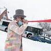 Leominster Mayor Dean Mazzarella was the master of ceremonies at the annual Flamingo Day in the City on February 2, 2021. During the ceremony he blew a long plastic horn called the vuvuzela. SENTINEL & ENTERPRISE/JOHN LOVE