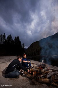 Jesse Murphy and Ryan Bailey relaxing after a long day on the Main Salmon River, Idaho.