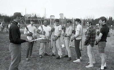 ED HOLSHEK/P-R FILE PHOTO  Saranac High lacrosse coach Bob Hudak briefs his Chiefs on some all-important final reminders during a practice session April 23, 1970. Hudak was in his final season at the helm of the program.