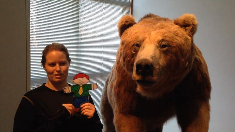 Flat Buchanan meets a bear at the museum.