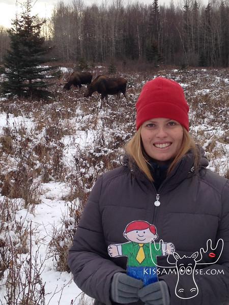 Flat Buchanan sees a family of moose.