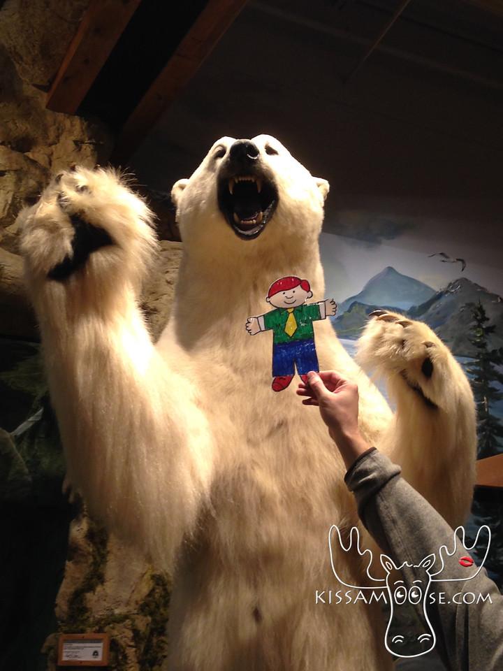 Flat Buchanan meets a polar bear at Cabela's.