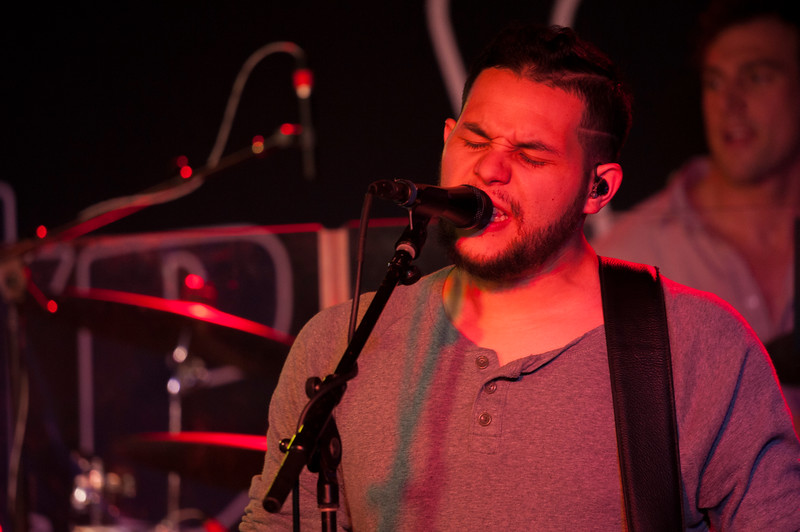 Jonathan Saenz provides accompaning vocals while performing at The Hat in Manhattan, Kan. on Oct. 20, 2017. Saenz is the bands bass guitarist. Formed in 2012, Flatland Calvary released its most recent album, Humble Folks, in 2016. (Photo by Justin Wright | Collegian Media Group)