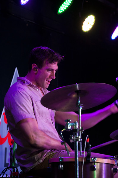 Jason Albers plays the drums while performing at The Hat in Manhattan, Kan. on Oct. 20, 2017. Formed in 2012, Flatland Calvary released its most recent album, Humble Folks, in 2016. (Photo by Justin Wright | Collegian Media Group)