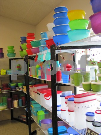 A rainbow of colors can be found at the Tupperware booth.