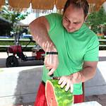 Brandon Thomas sliced a watermelon.