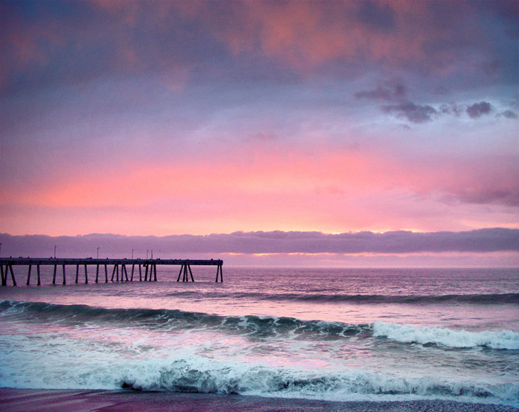 Sunset Sky and Pacifica's Pier <br /> Clouds and fog colored by the sunset.