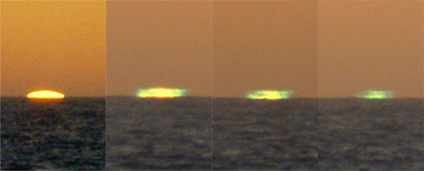 Green Flash, June 30 <br /> I've often watched green flashes, but this is the very first time I was able to capture the progression, and TRUE color. My apologies for the poor quality, but I wasn't expecting a green flash at all. Camera was hand held, the zoom was at the wide end, and I just did a continuous fire sequence, unfortunately my buffer got full (shooting in RAW) before I could get the last bit of green. I took the four photos and made this composite to show the progression.