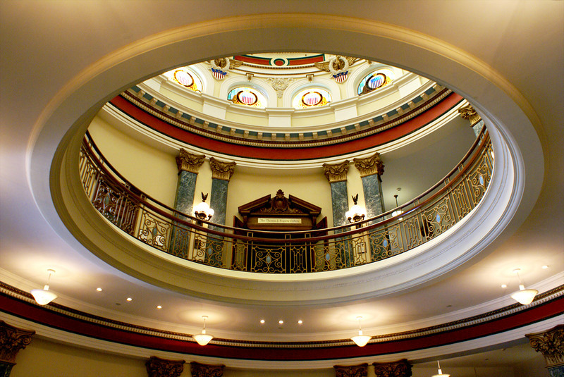 Rotunda from the first floor, Redwood City Historical Museum <br /> The view of the second floor and rotunda from the first floor. Extremely dim light on this floor. There are two antique carriages on either side of the stairway, but it was just too dark for me to attempt on this visit.