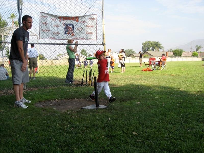 Ethan hitting the ball