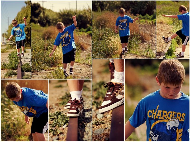 Ethan on the train tracks