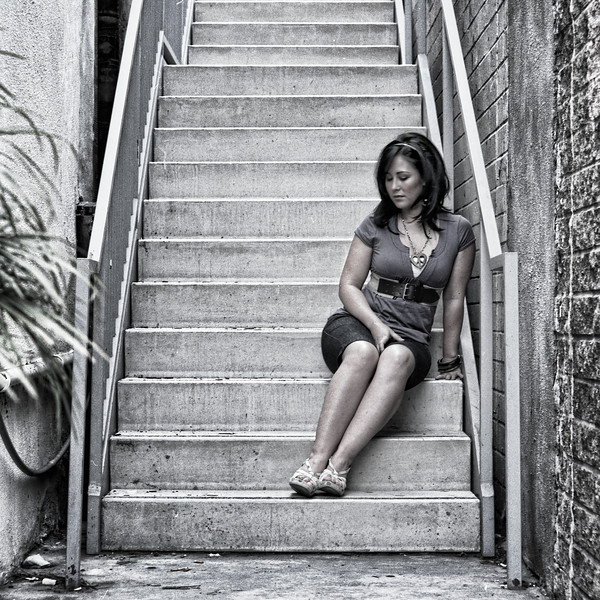 Melissa on stairs