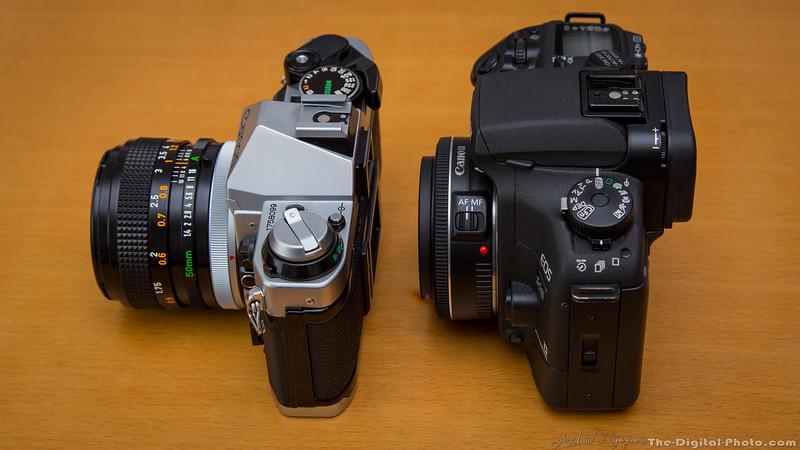Canon AE-1 Program and EOS 30v Elan 7NE Side (2013-10-21_3188)