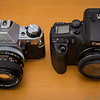 Canon AE-1 Program and EOS 30v Elan 7NE Top (2013-10-21_3196)
