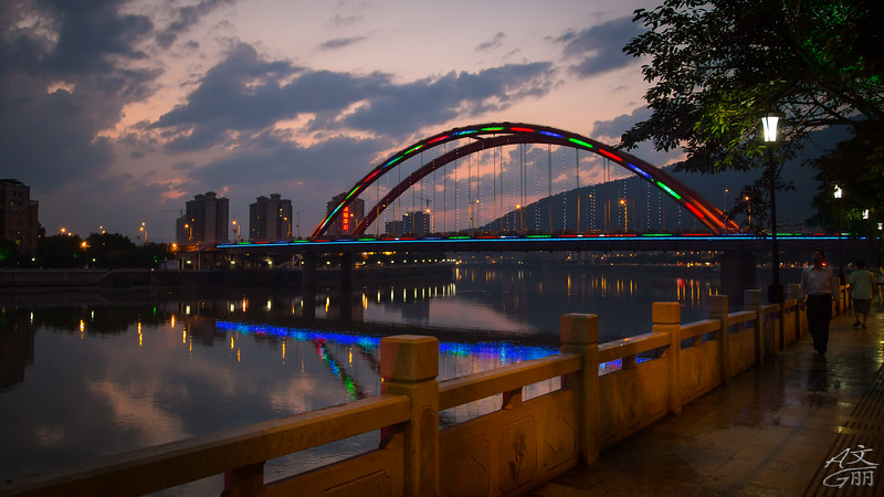 Lighted bridge and railing (2013-05-27_1571)