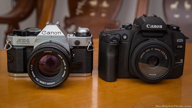 Canon AE-1 Program and EOS 30v Elan 7NE Front (2013-10-21_3199)
