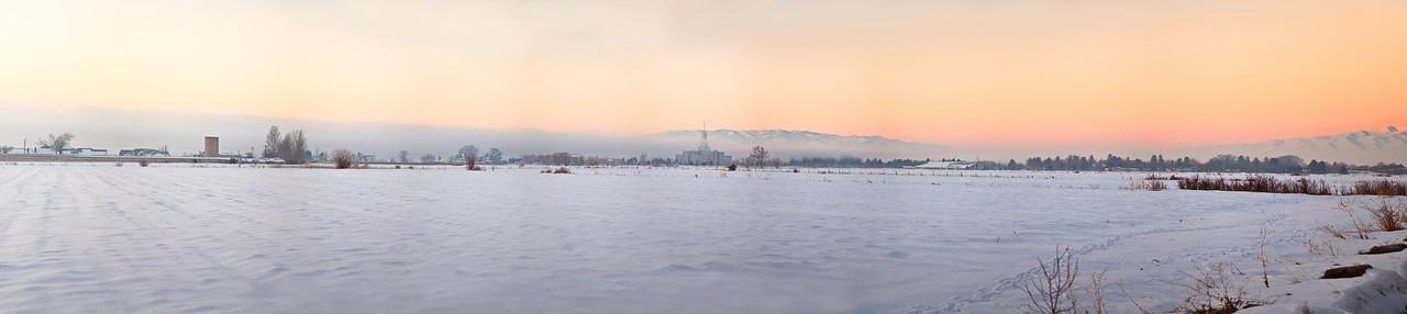 Timpanogos Temple Field Sunrise (pano)
