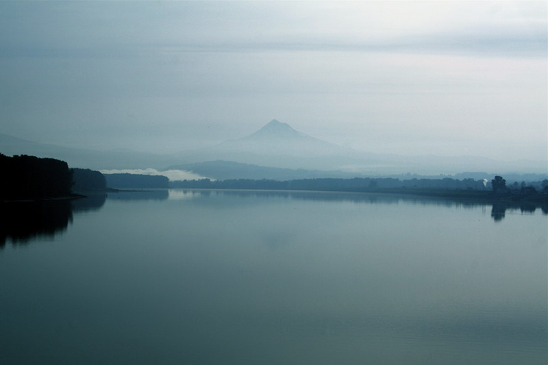 Mt Hood and Columbia River on a foggy morning
