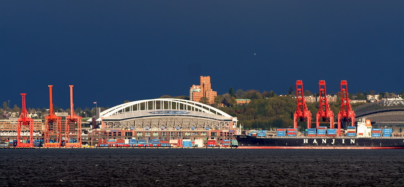 Seattle Docks and Seahawks Stadium
