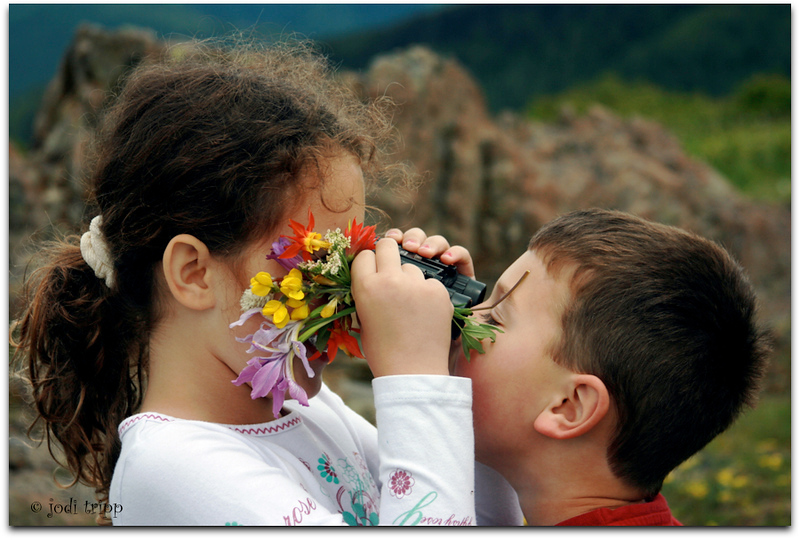 Wildflower picking and fun with binoculars