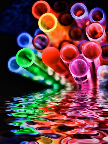bright and colorful straws flooded d