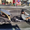 A ridiculously cool Trike towing society's debris to the recycling center in Santa Monica.