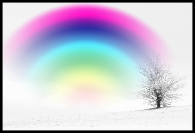 white out with rainbow
