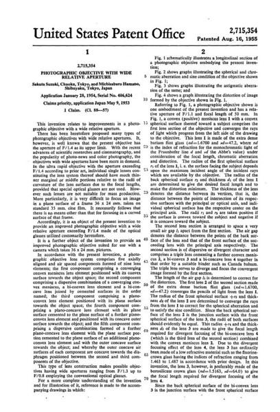 Zunow 5cm f/1.1 LTM Patent