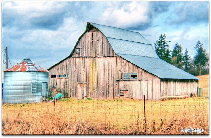 barn with silo (hdr)