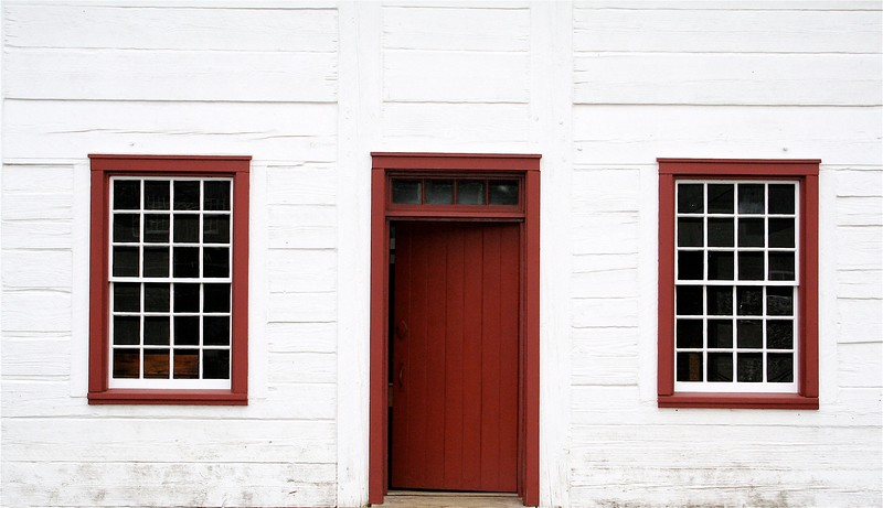 Two windows and a door