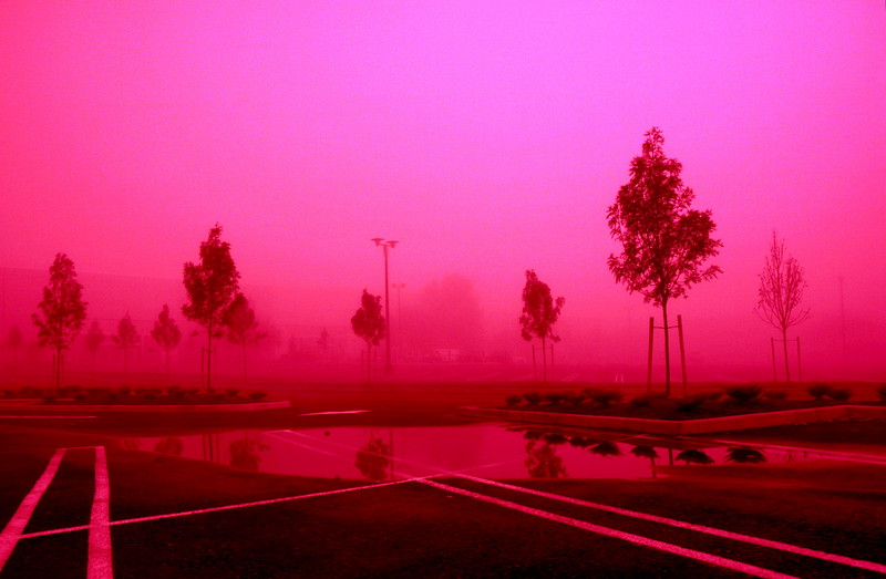 parking lot in shades of red