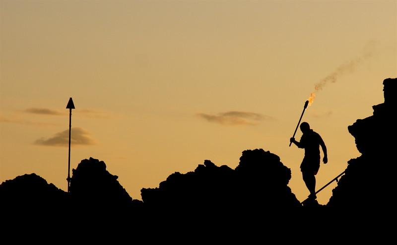 Cliff diver silhouette