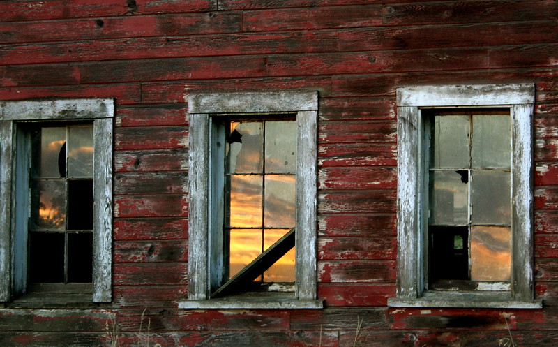 Sunset in the barn windows