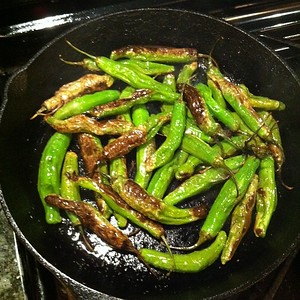 On the table tonite: shishito peppers via @eataly and a dose of fabulous humor from @jenntof #jux
