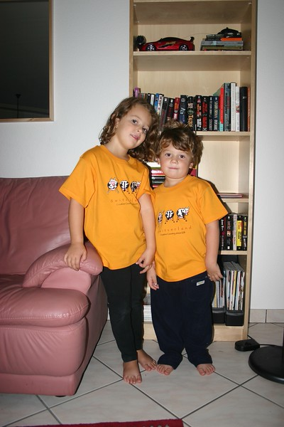 twins with our new swiss t-shirts