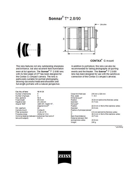 Contax Carl Zeiss G Sonnar T* 90mm f/2.8