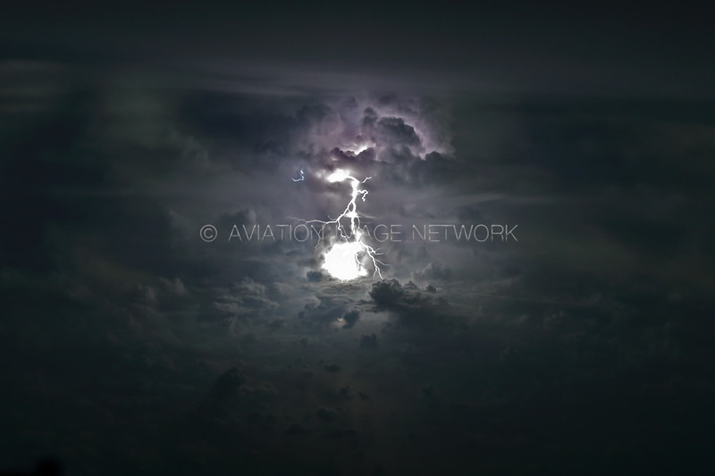 Active Thunderstorm as seen from 33.000 feet
