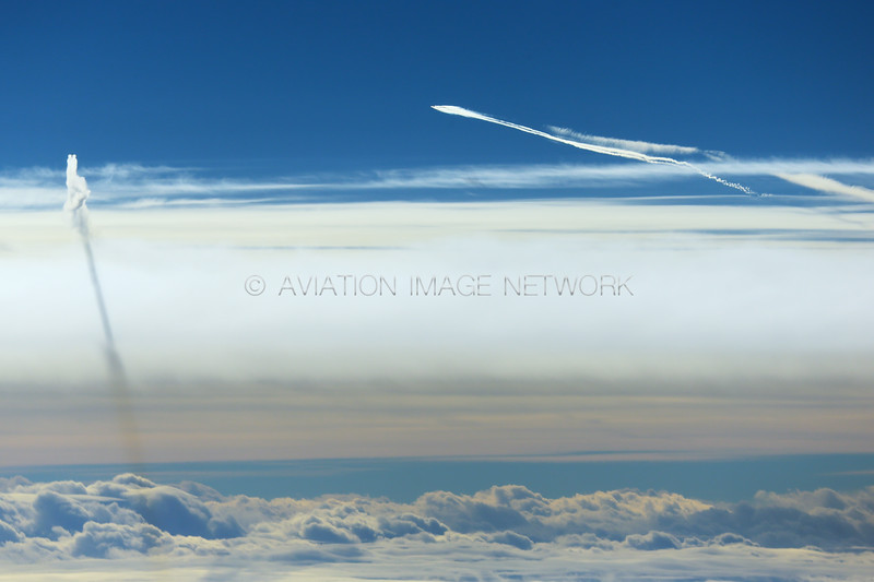 Emirates A380 and Delta B767 Contrails over Norway